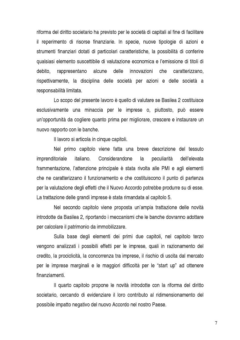 Anteprima della tesi: Basilea 2, rischi e opportunità per l'imprese italiane. Il contributo positivo della riforma societaria., Pagina 2