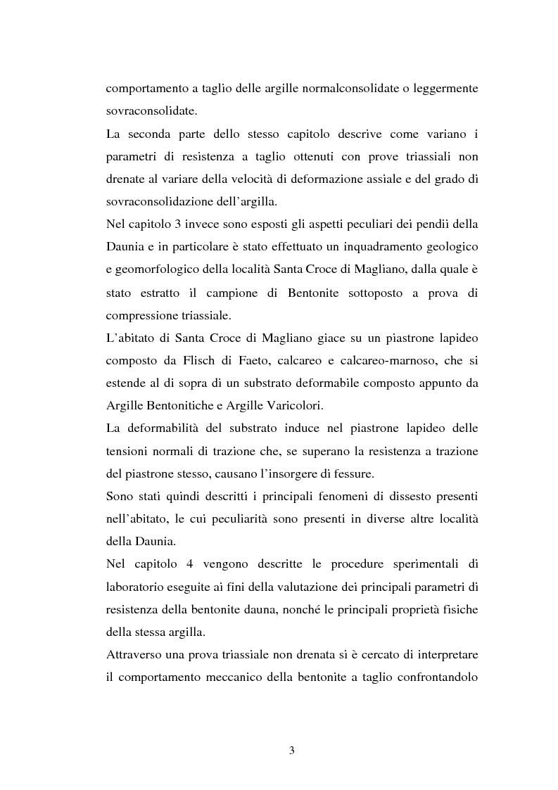 Anteprima della tesi: Influenza della velocità di deformazione in prove triassiali su bentonite dauna ai fini del calcolo di stabilità dei pendii, Pagina 3
