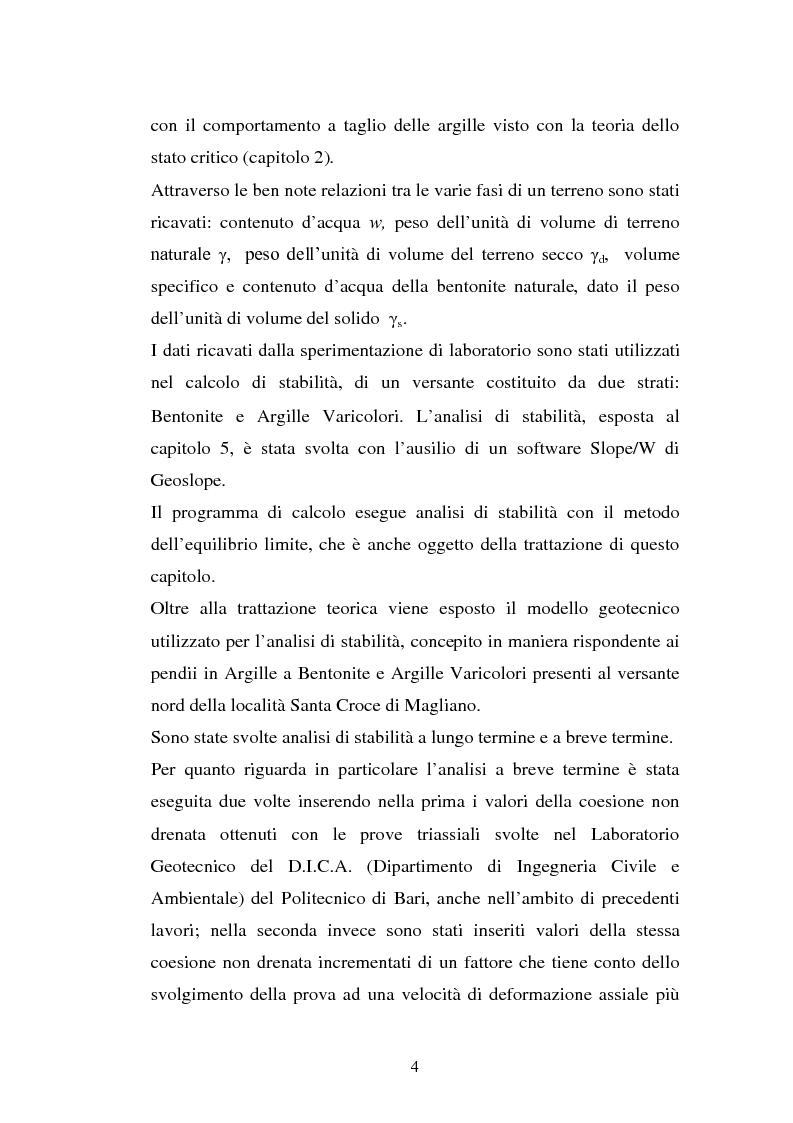 Anteprima della tesi: Influenza della velocità di deformazione in prove triassiali su bentonite dauna ai fini del calcolo di stabilità dei pendii, Pagina 4