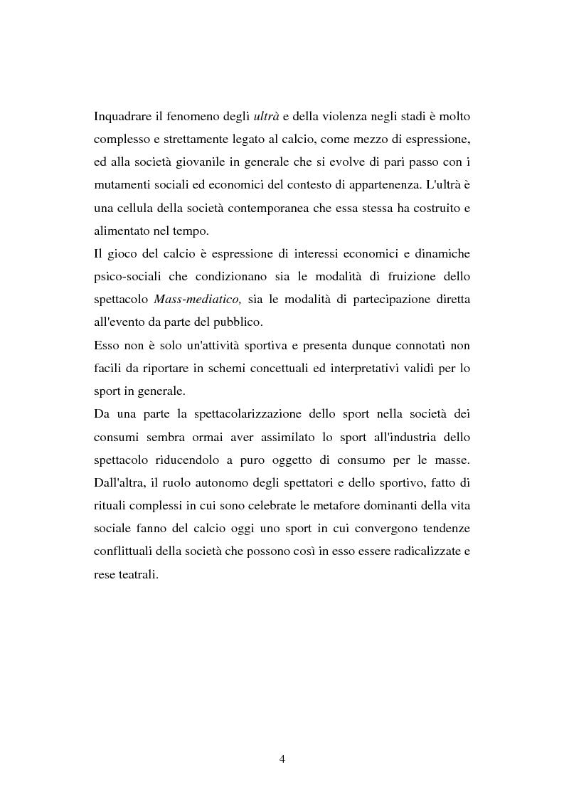Anteprima della tesi: Aggressività e violenza negli stadi: il fenomeno degli ultrà, Pagina 3