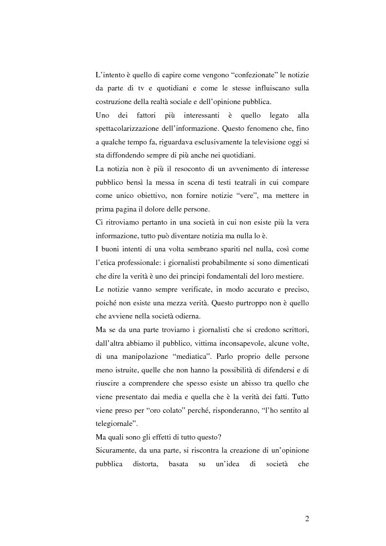 Anteprima della tesi: L'informazione come spettacolo: l'influenza delle tecniche di spettacolarizzazione sulla creazione dell'opinione pubblica e della realtà sociale, Pagina 2