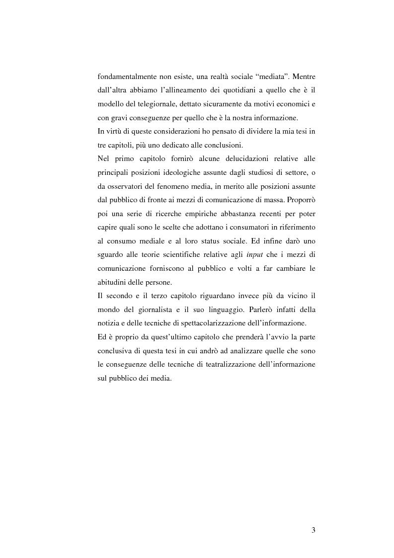 Anteprima della tesi: L'informazione come spettacolo: l'influenza delle tecniche di spettacolarizzazione sulla creazione dell'opinione pubblica e della realtà sociale, Pagina 3