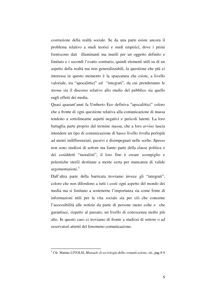 Anteprima della tesi: L'informazione come spettacolo: l'influenza delle tecniche di spettacolarizzazione sulla creazione dell'opinione pubblica e della realtà sociale, Pagina 5