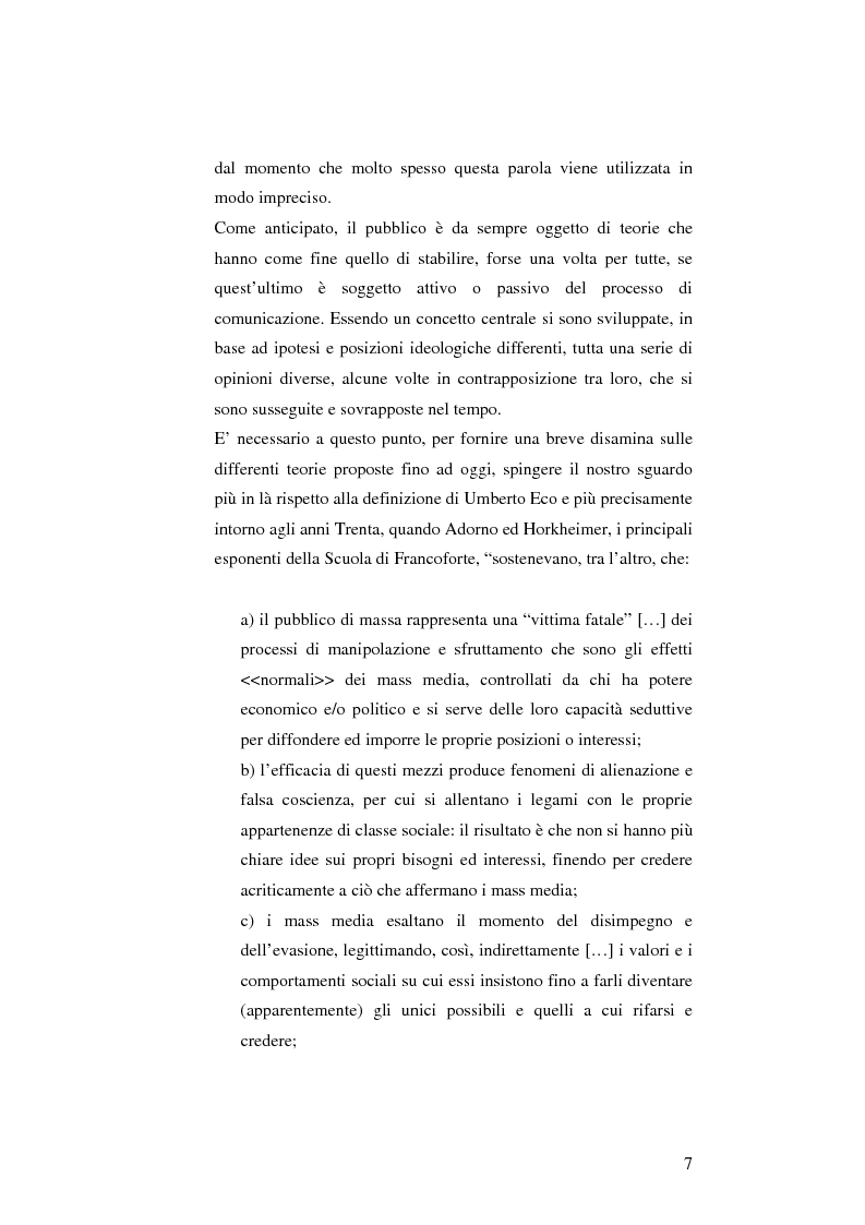 Anteprima della tesi: L'informazione come spettacolo: l'influenza delle tecniche di spettacolarizzazione sulla creazione dell'opinione pubblica e della realtà sociale, Pagina 7
