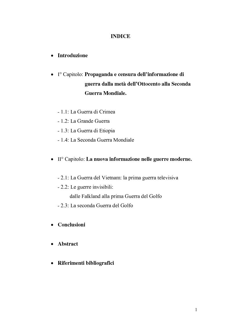 Indice della tesi: Informazione e mass media durante i conflitti bellici, Pagina 1