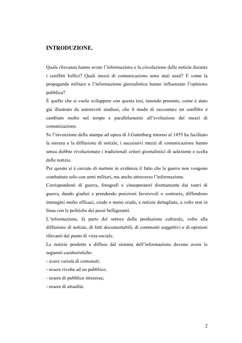 Anteprima della tesi: Informazione e mass media durante i conflitti bellici, Pagina 1