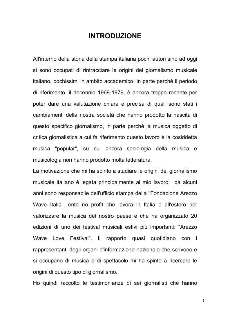 Anteprima della tesi: Origini del giornalismo musicale italiano nelle riviste specializzate degli anni '70, Pagina 1