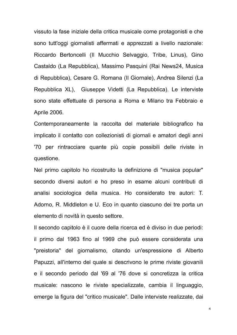 Anteprima della tesi: Origini del giornalismo musicale italiano nelle riviste specializzate degli anni '70, Pagina 2