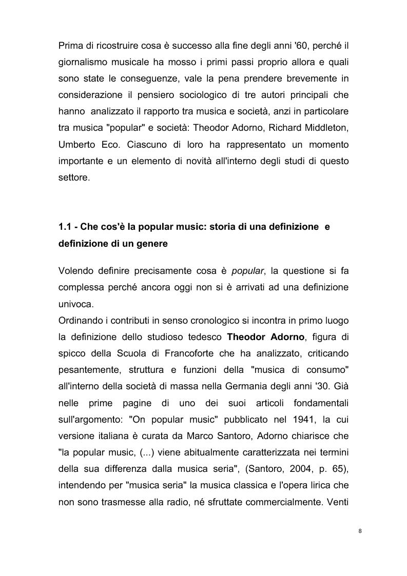 Anteprima della tesi: Origini del giornalismo musicale italiano nelle riviste specializzate degli anni '70, Pagina 6