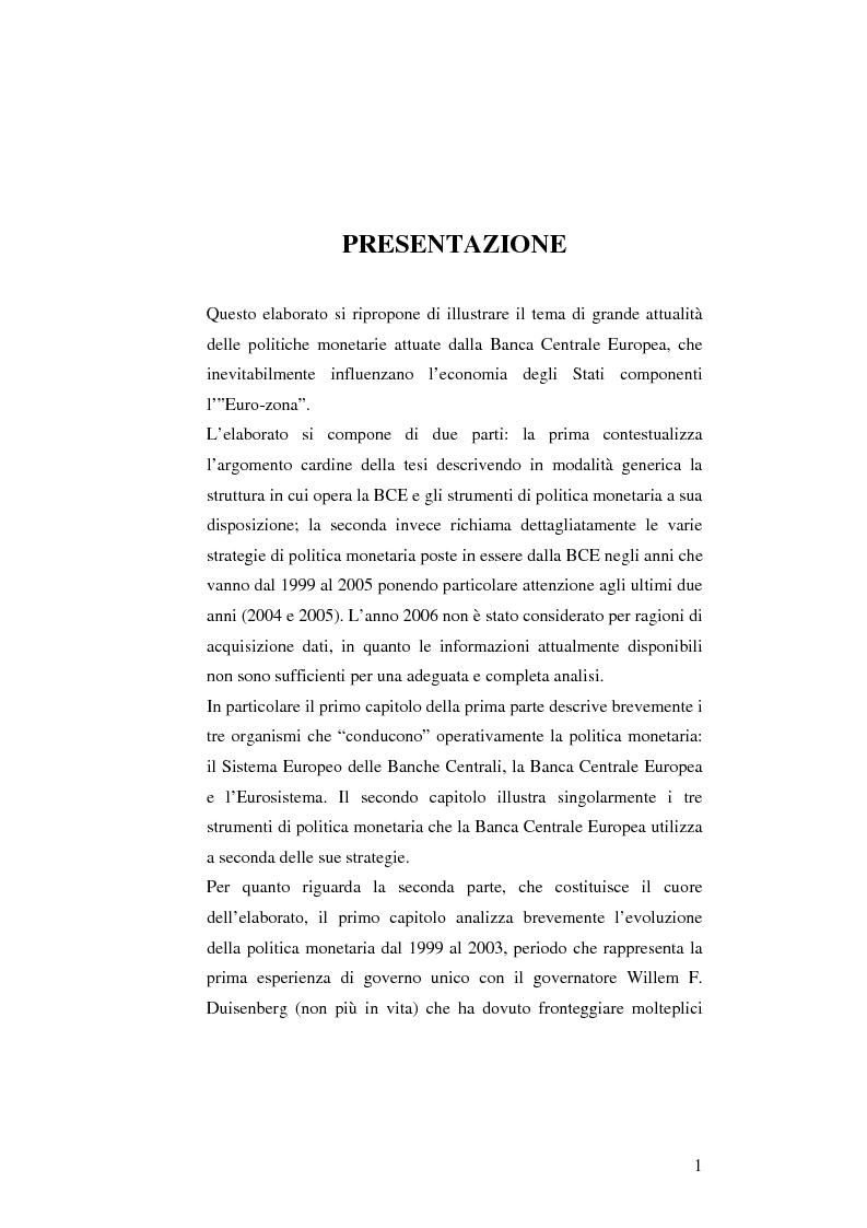 Anteprima della tesi: La politica monetaria della Banca Centrale Europea, Pagina 1
