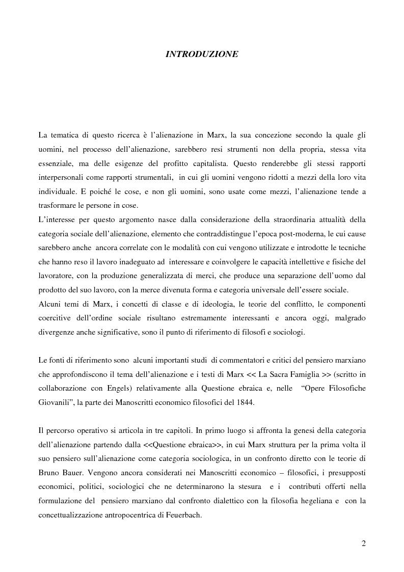 Anteprima della tesi: Alienazione in Marx, Pagina 1