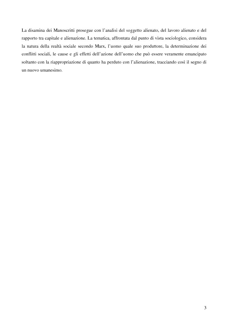 Anteprima della tesi: Alienazione in Marx, Pagina 2
