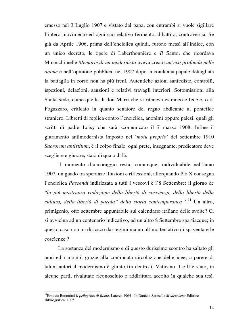 Anteprima della tesi: 1907: la crisi modernista nel ''Corriere della Sera'', Pagina 12
