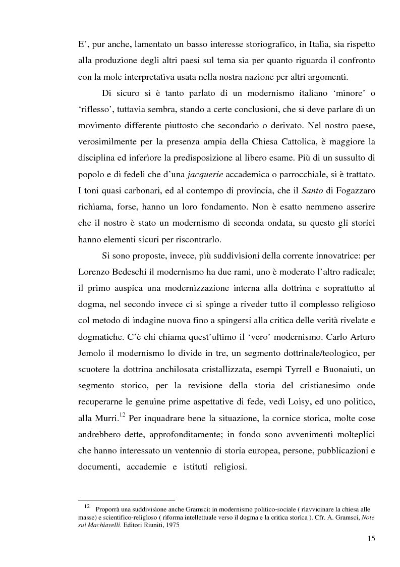 Anteprima della tesi: 1907: la crisi modernista nel ''Corriere della Sera'', Pagina 13