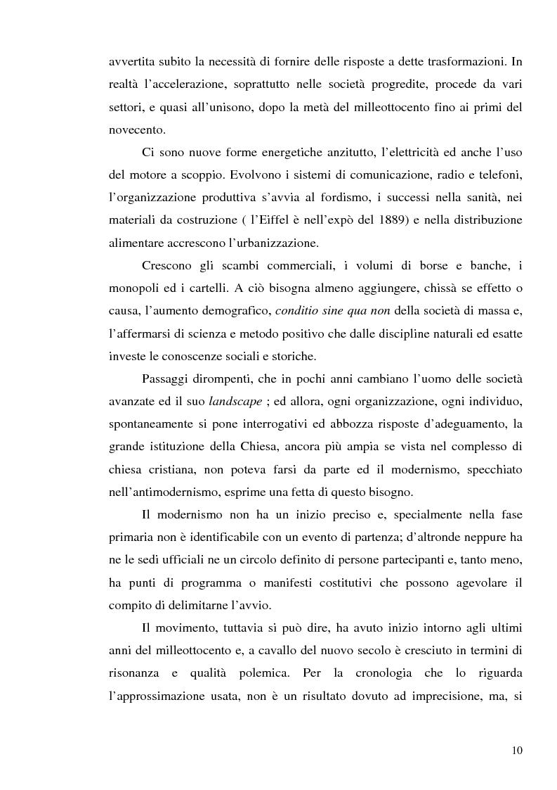 Anteprima della tesi: 1907: la crisi modernista nel ''Corriere della Sera'', Pagina 8