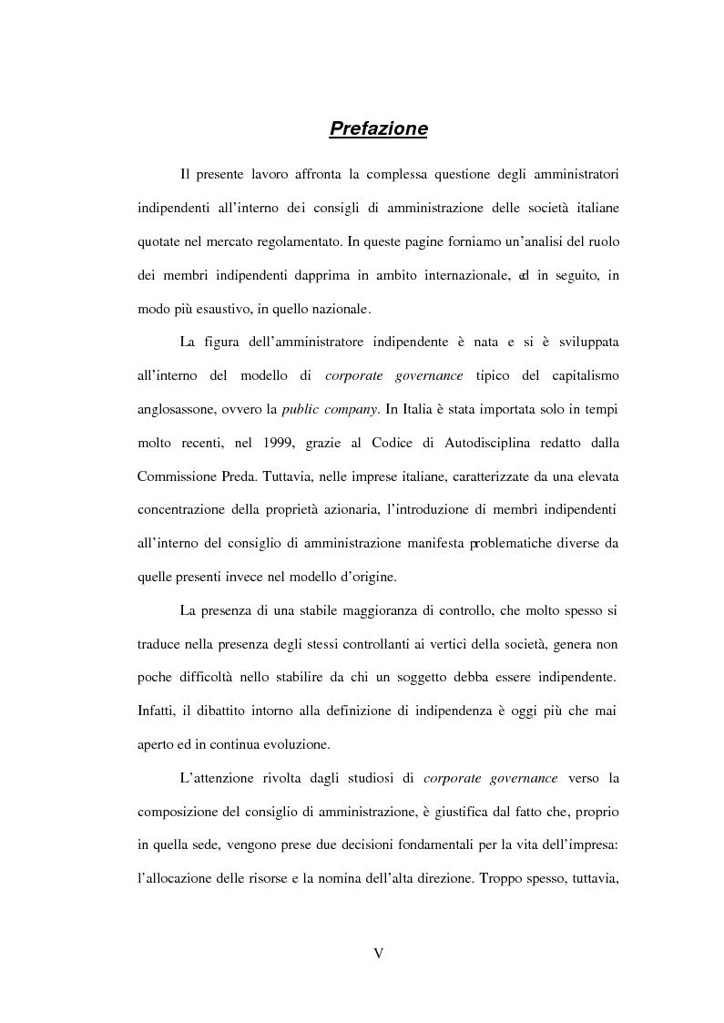 Anteprima della tesi: Gli amministratori indipendenti nella corporate governance italiana, Pagina 1