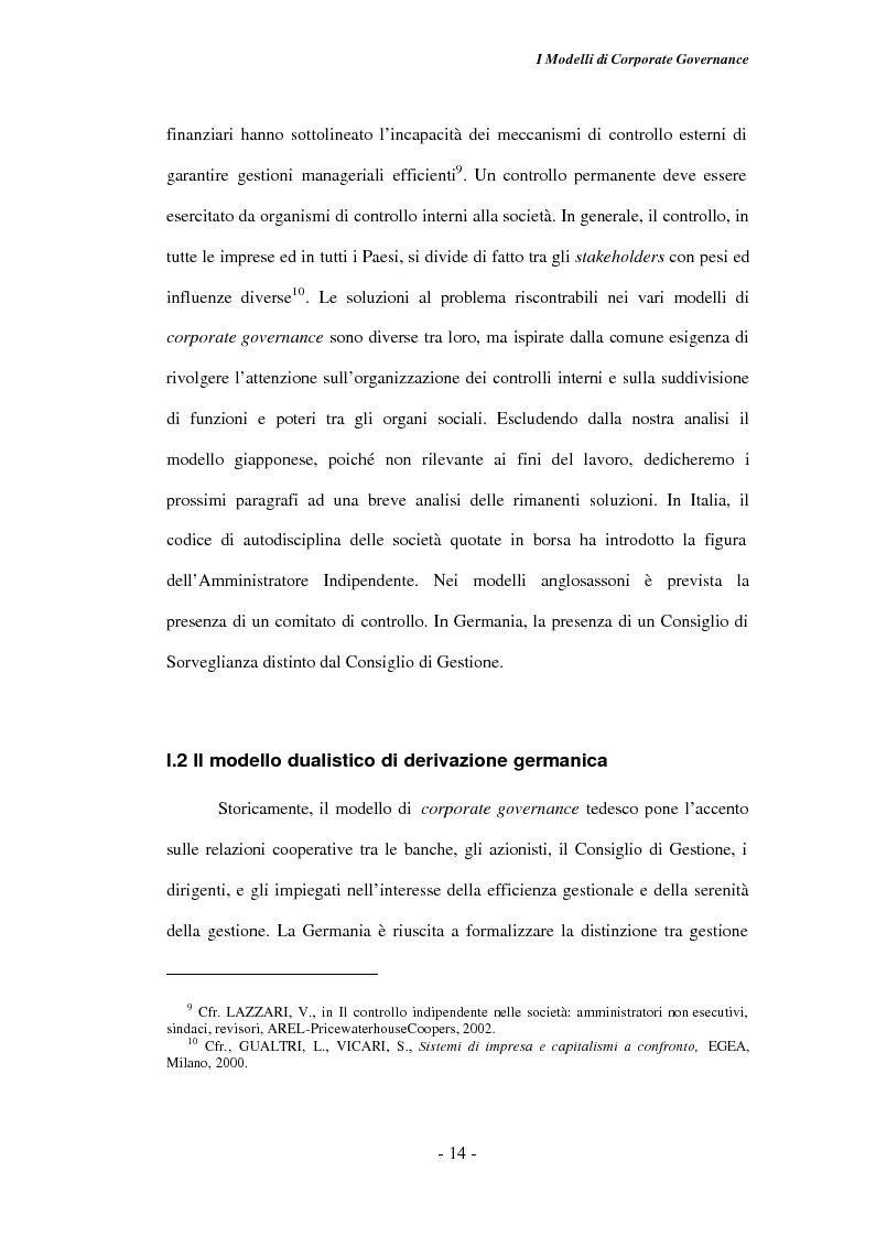 Anteprima della tesi: Gli amministratori indipendenti nella corporate governance italiana, Pagina 10