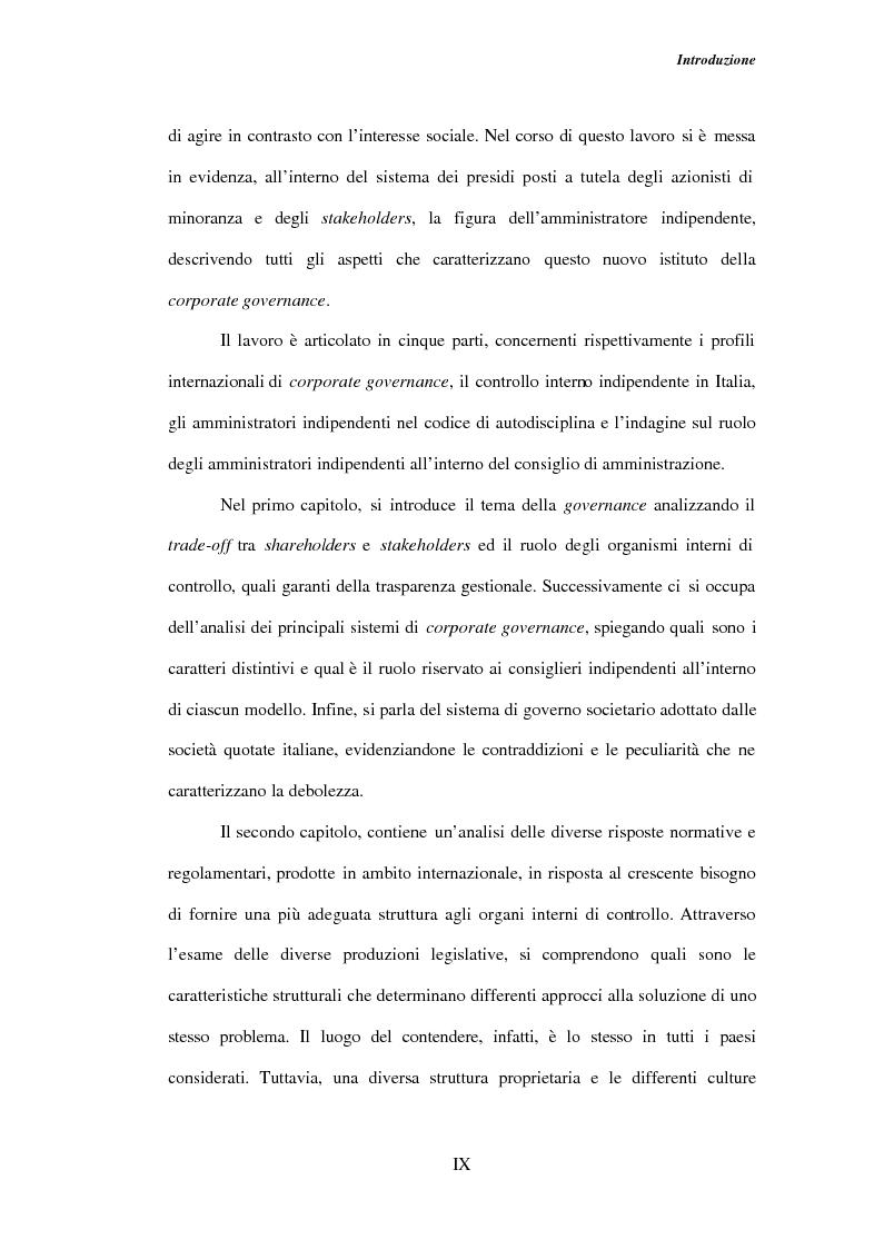 Anteprima della tesi: Gli amministratori indipendenti nella corporate governance italiana, Pagina 5