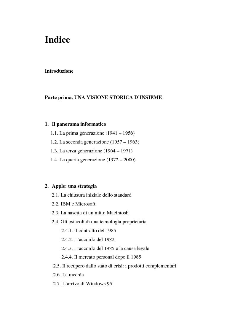 Indice della tesi: Aspetti psicologici del processo di brand building nel campo informatico. Il caso Mac., Pagina 1