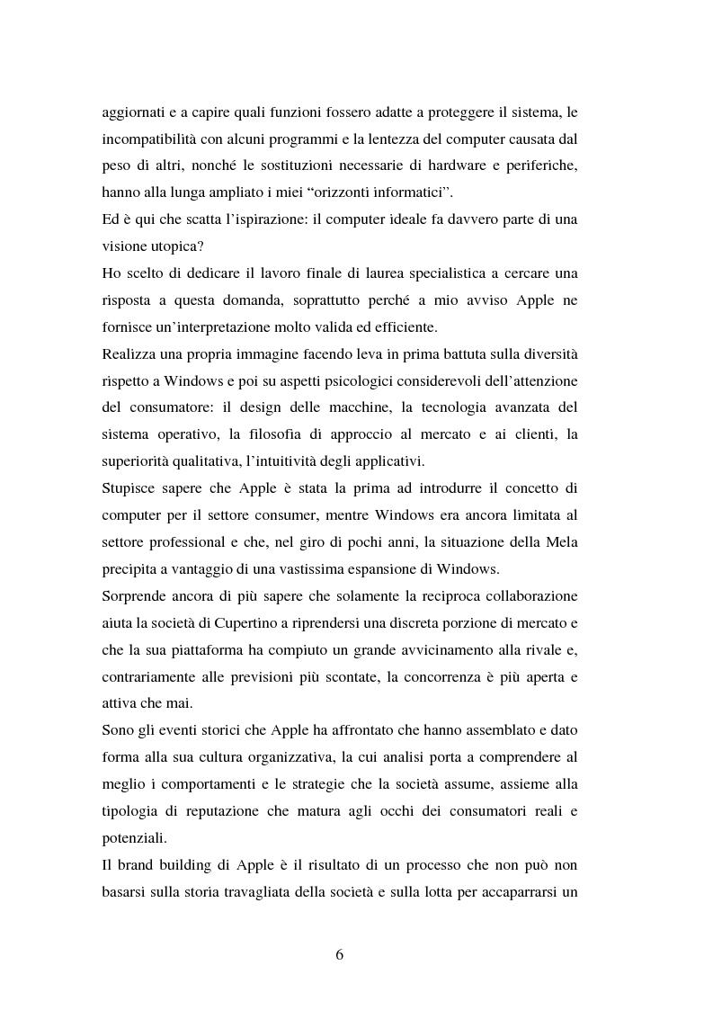 Anteprima della tesi: Aspetti psicologici del processo di brand building nel campo informatico. Il caso Mac., Pagina 2
