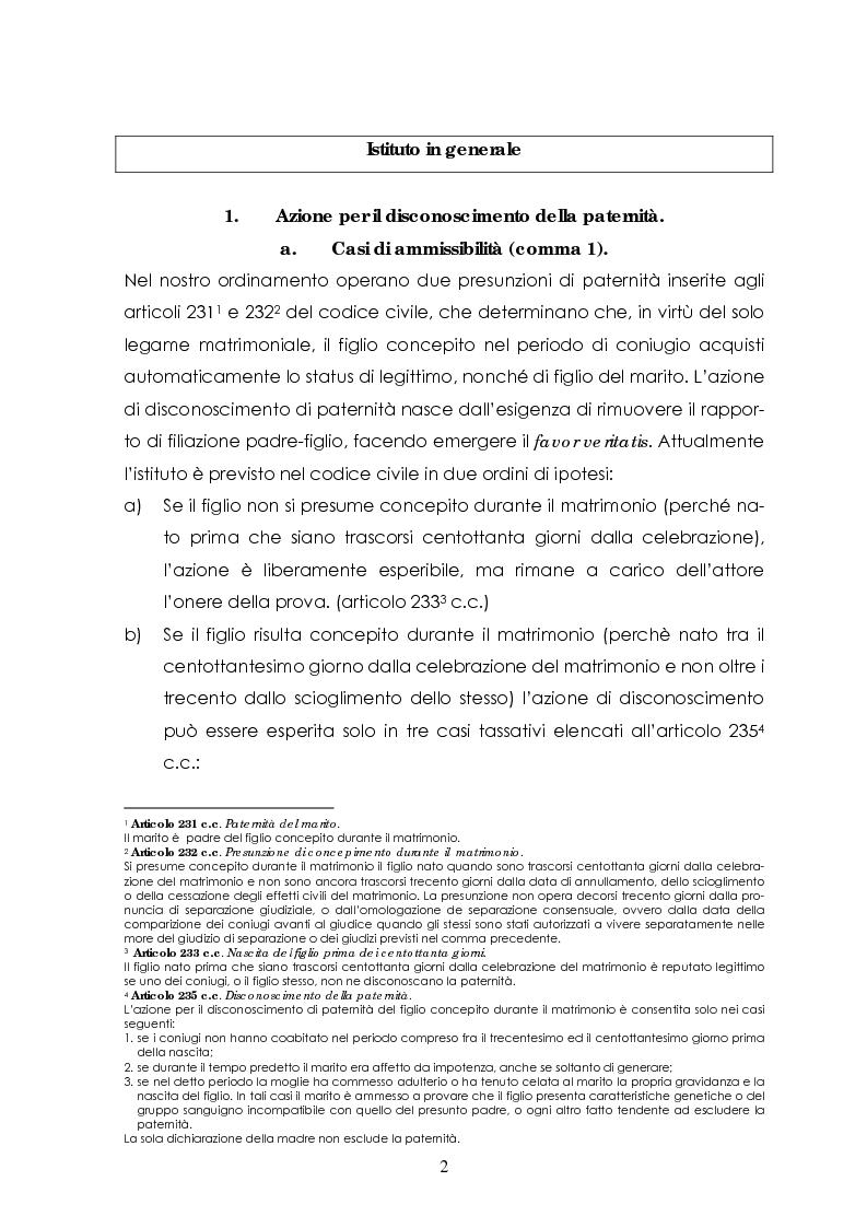 Anteprima della tesi: L'azione di disconoscimento della paternità, Pagina 1