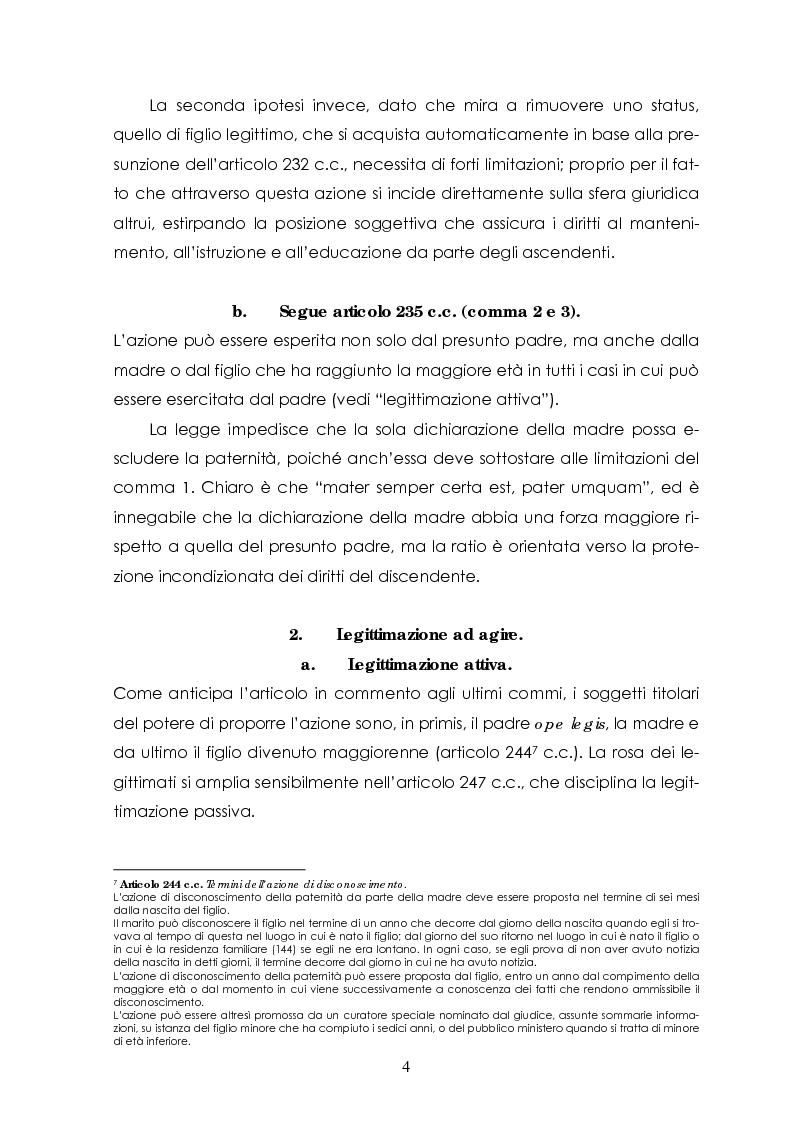 Anteprima della tesi: L'azione di disconoscimento della paternità, Pagina 3