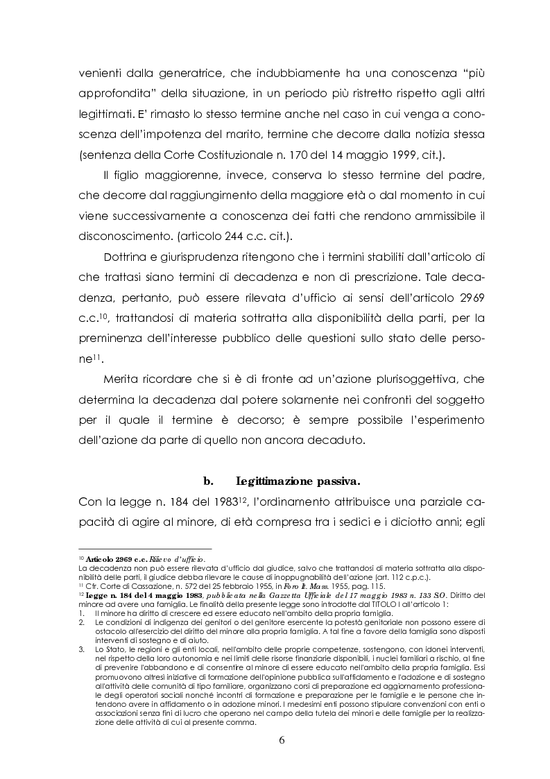 Anteprima della tesi: L'azione di disconoscimento della paternità, Pagina 5