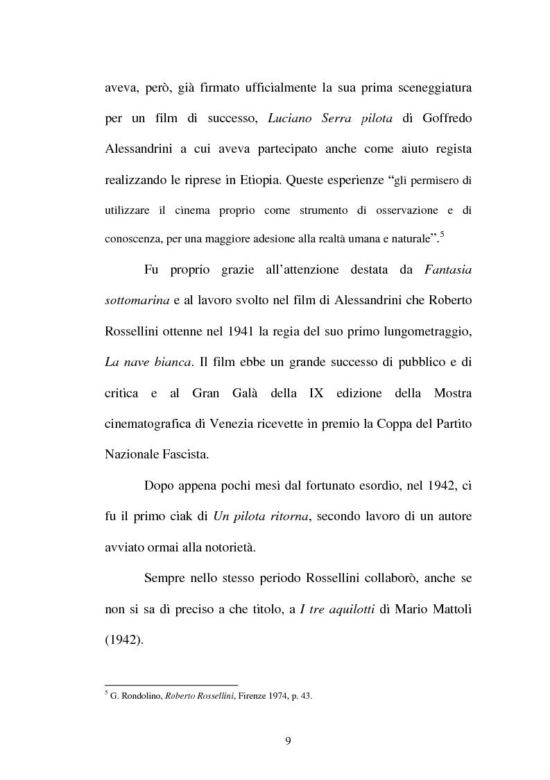 Anteprima della tesi: La continuità tematica ed artistica di Roberto Rossellini da ''La nave bianca'' a ''Germania anno zero'', Pagina 9