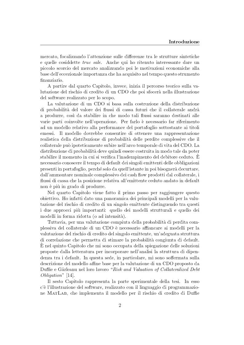 Anteprima della tesi: La cartolarizzazione del rischio di credito: il caso dei CDO, Pagina 2