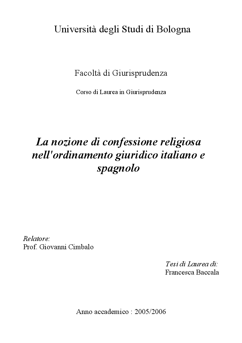Anteprima della tesi: La nozione di confessione religiosa nell'ordinamento giuridico italiano e spagnolo, Pagina 1