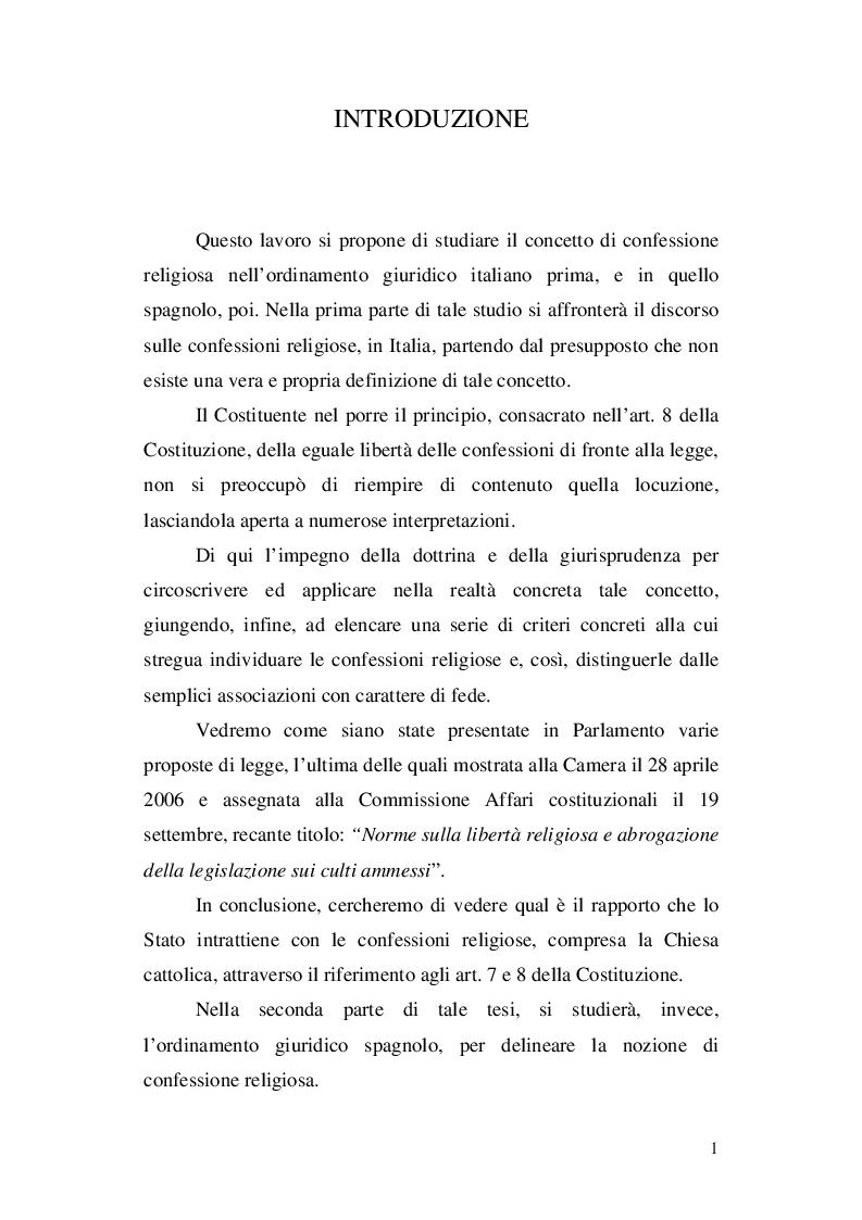 Anteprima della tesi: La nozione di confessione religiosa nell'ordinamento giuridico italiano e spagnolo, Pagina 2