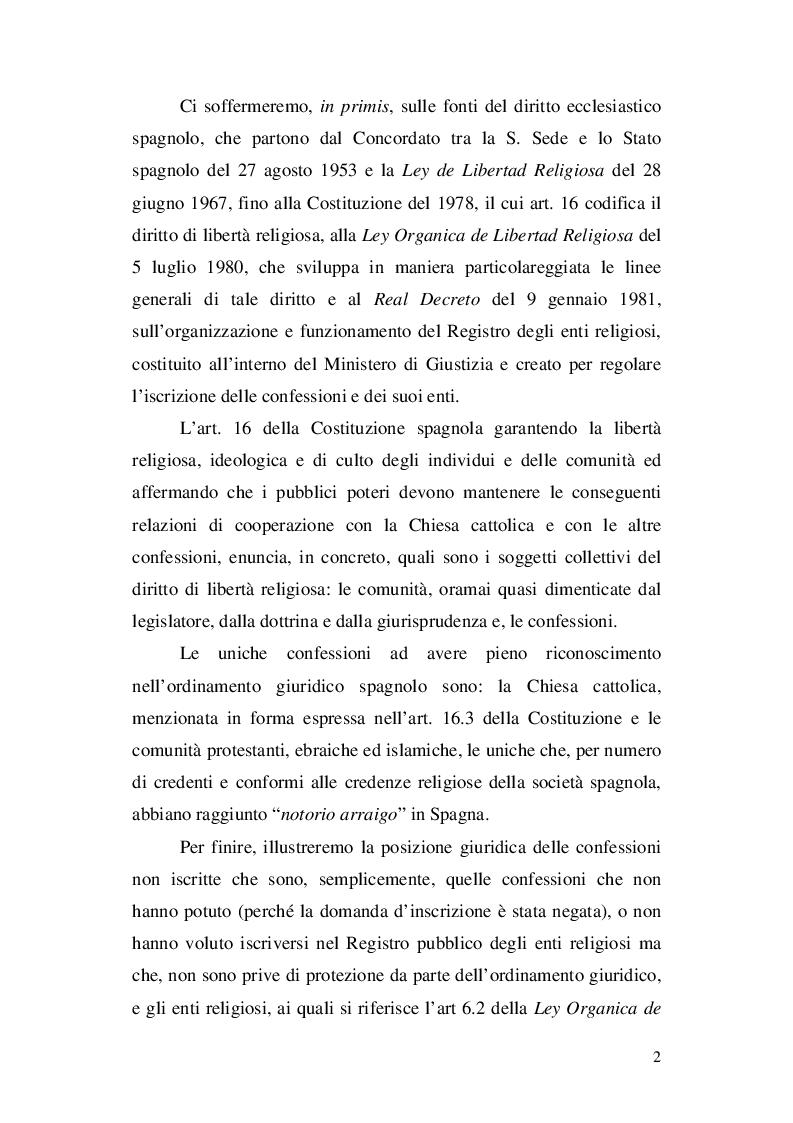 Anteprima della tesi: La nozione di confessione religiosa nell'ordinamento giuridico italiano e spagnolo, Pagina 3