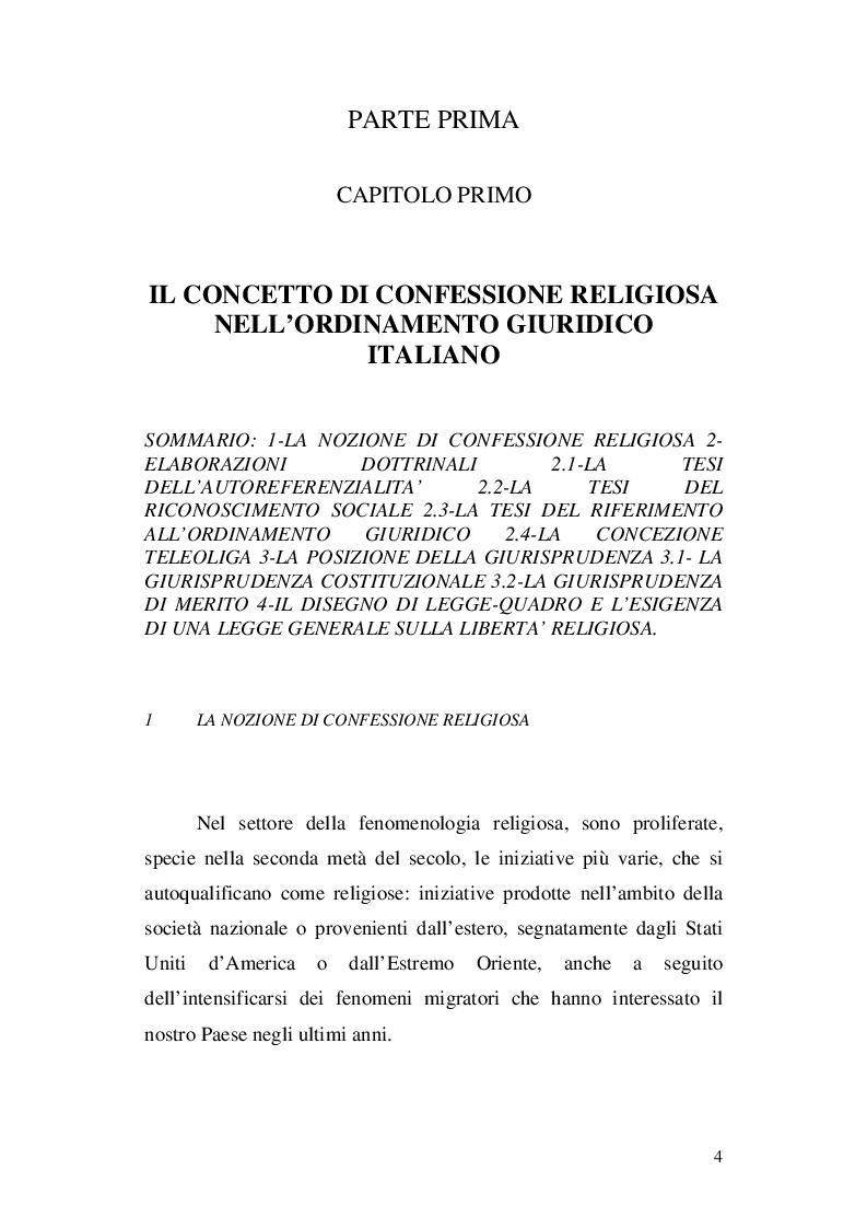 Anteprima della tesi: La nozione di confessione religiosa nell'ordinamento giuridico italiano e spagnolo, Pagina 5