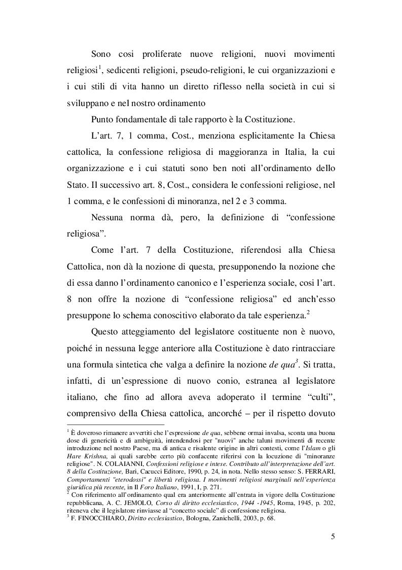 Anteprima della tesi: La nozione di confessione religiosa nell'ordinamento giuridico italiano e spagnolo, Pagina 6