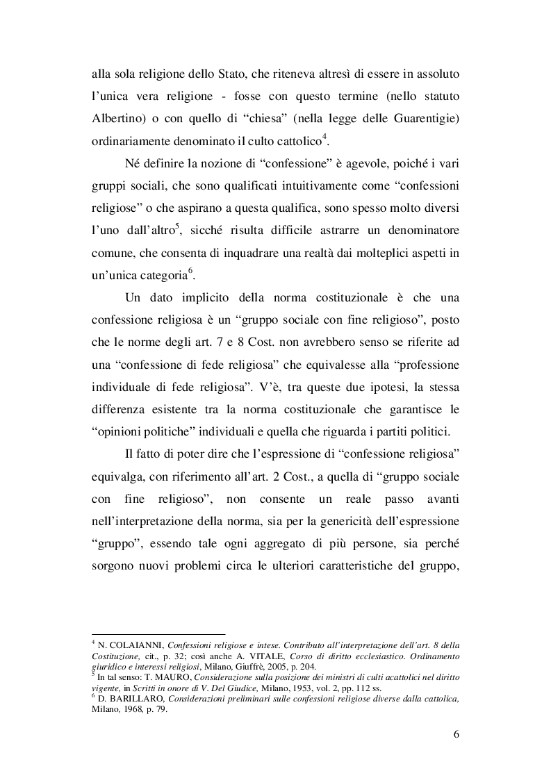 Anteprima della tesi: La nozione di confessione religiosa nell'ordinamento giuridico italiano e spagnolo, Pagina 7