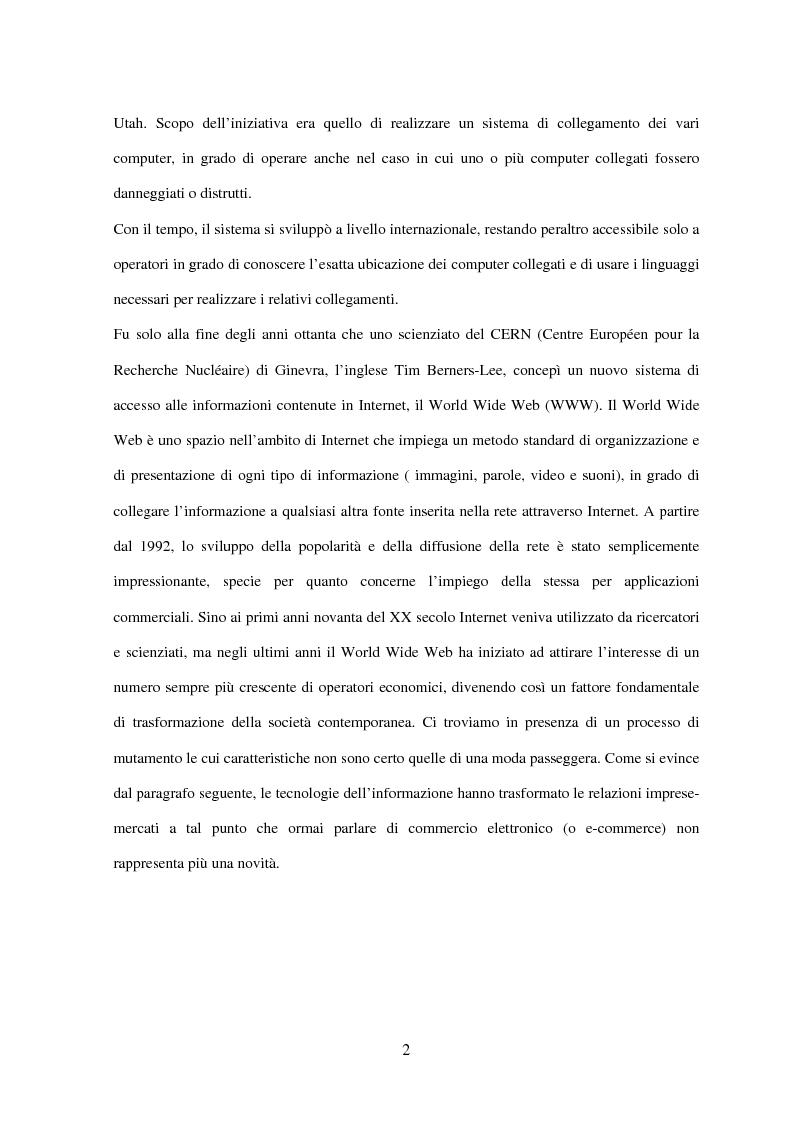 Anteprima della tesi: Il turismo on line: dalla nascita del commercio elettronico ai nuovi fenomeni di consumo turistico, Pagina 5