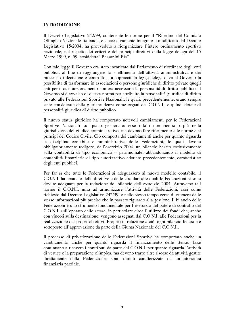 Anteprima della tesi: Il sistema informativo contabile delle Federazioni Sportive, Pagina 1