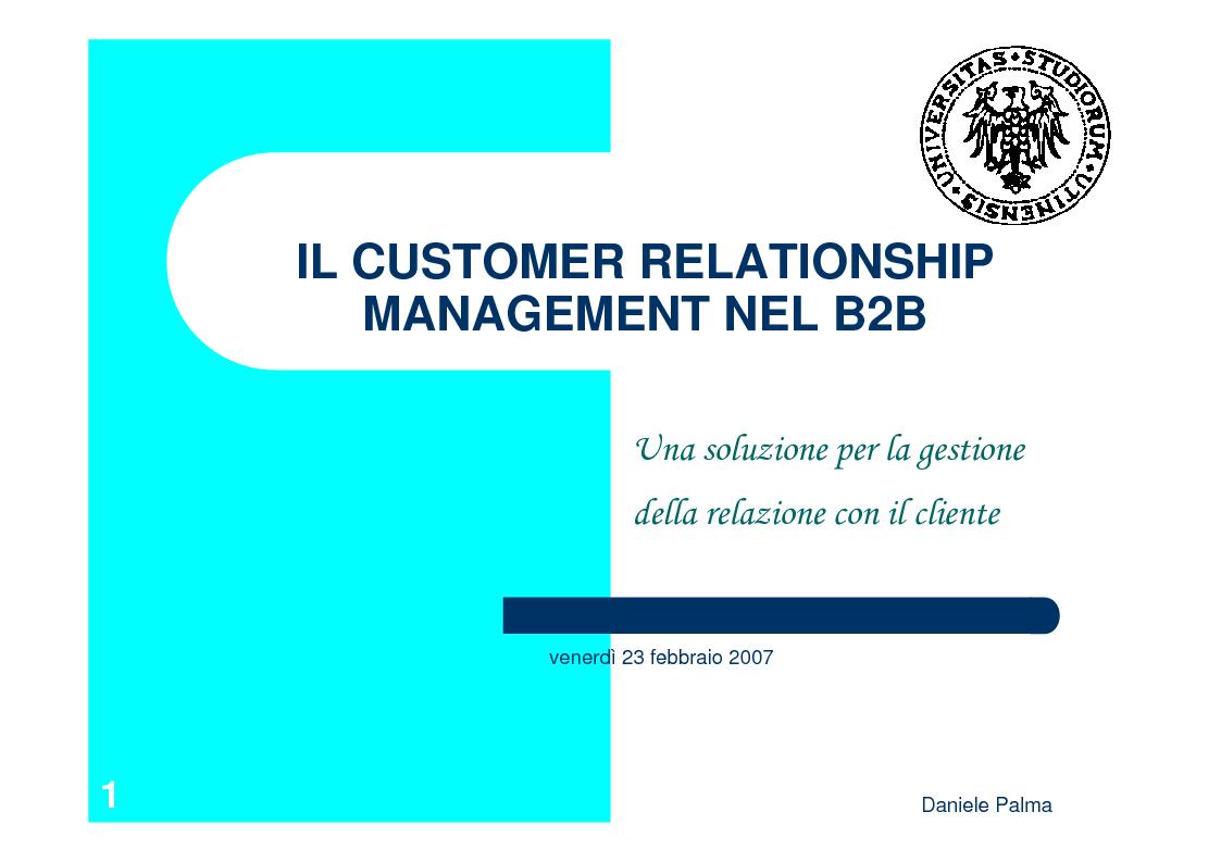 Anteprima della tesi: Il Customer Relationship Management nel B2B, Pagina 1
