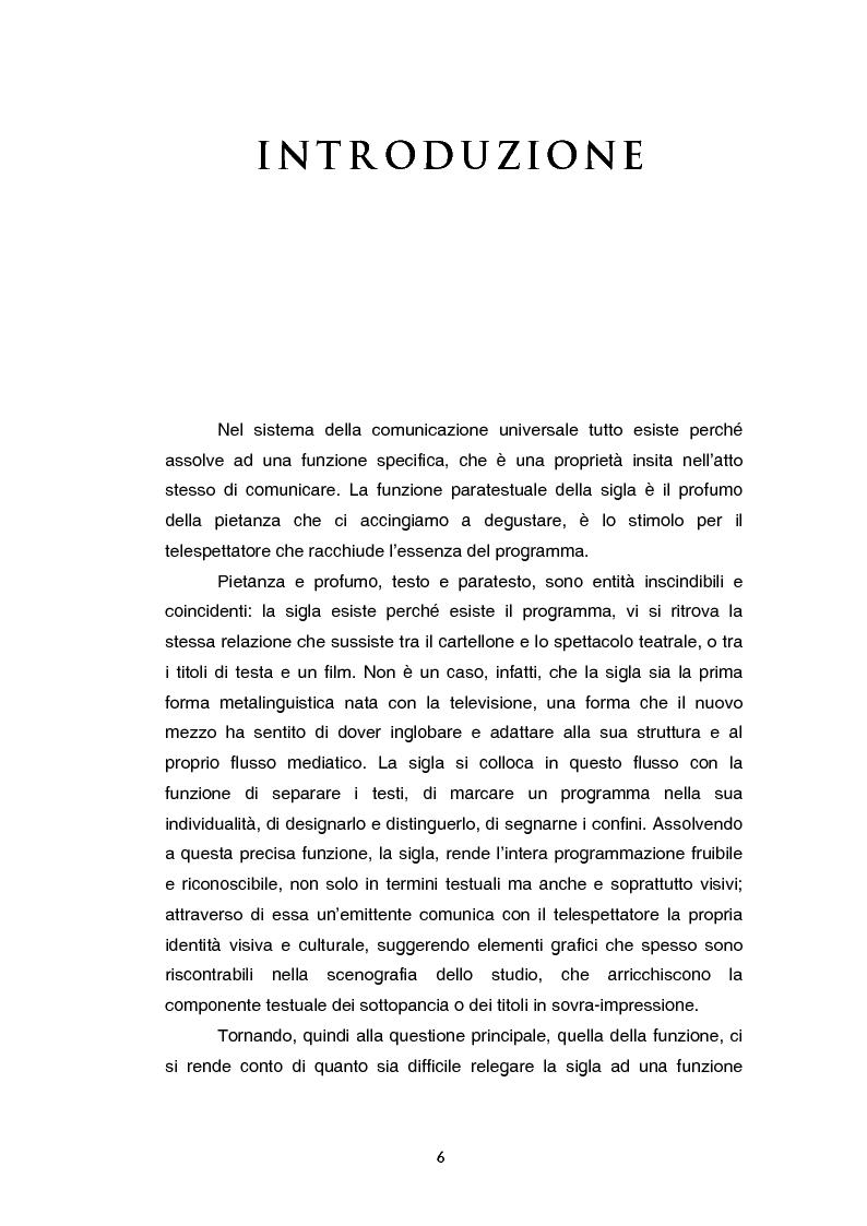 Anteprima della tesi: Teoria e tecnica della sigla televisiva - Il paratesto televisivo e la sua applicazione pratica, Pagina 1