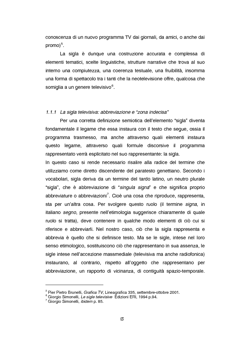Anteprima della tesi: Teoria e tecnica della sigla televisiva - Il paratesto televisivo e la sua applicazione pratica, Pagina 8