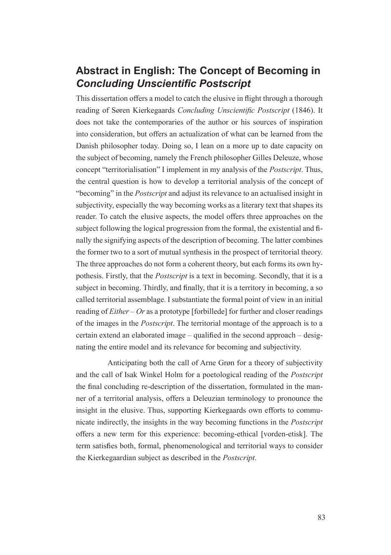 Anteprima della tesi: Begrebet vorden i Afsluttende uvidenskabelig Efterskrift. En model til udfordringen at fange det flygtige i farten hos og med Søren Kierkegaard, Pagina 1