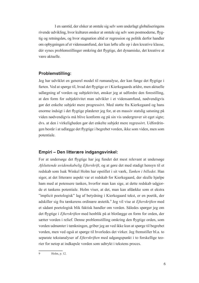 Anteprima della tesi: Begrebet vorden i Afsluttende uvidenskabelig Efterskrift. En model til udfordringen at fange det flygtige i farten hos og med Søren Kierkegaard, Pagina 5