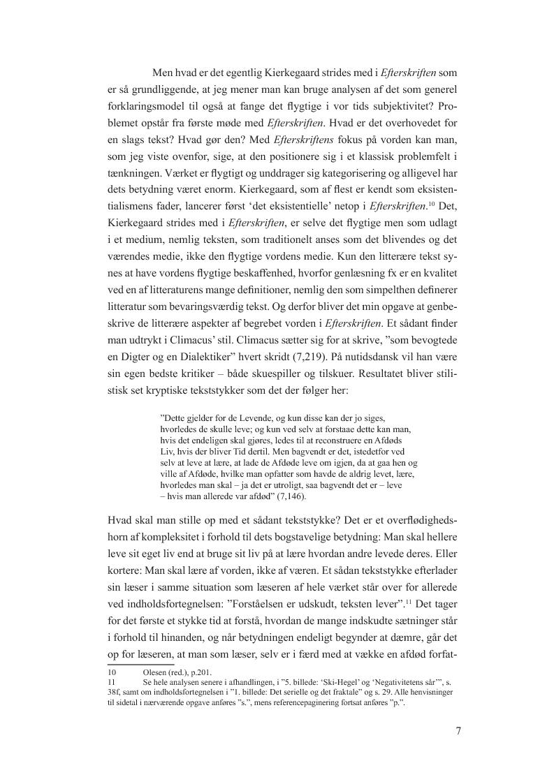 Anteprima della tesi: Begrebet vorden i Afsluttende uvidenskabelig Efterskrift. En model til udfordringen at fange det flygtige i farten hos og med Søren Kierkegaard, Pagina 6