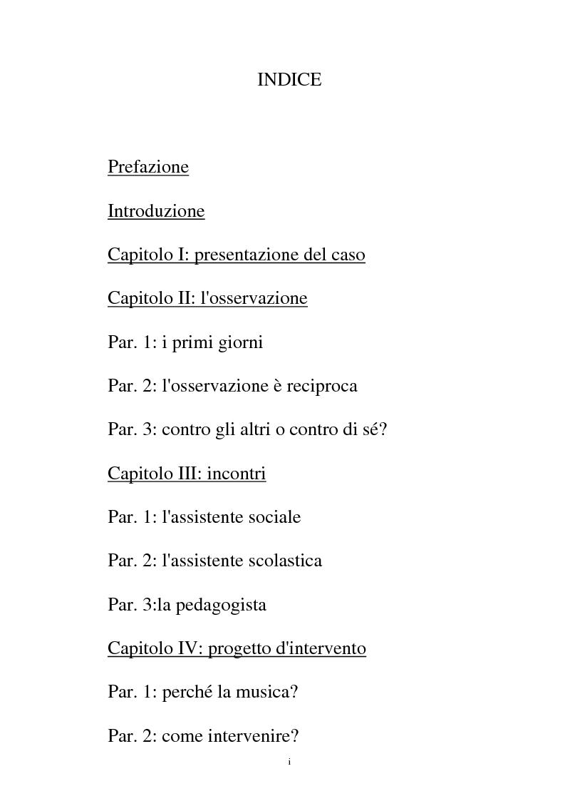Indice della tesi: La relazione musicale, Pagina 1