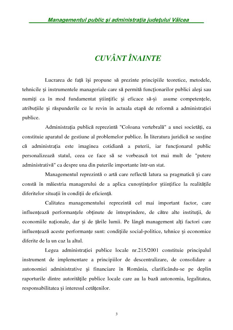 Anteprima della tesi: Managementul public si administratia judetului Valcea, Pagina 1