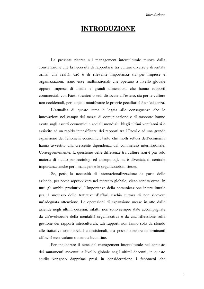 Anteprima della tesi: Il Management Interculturale: un'analisi di esperienze, Pagina 1