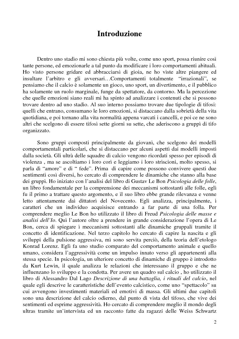 Anteprima della tesi: Amore e odio nei gruppi ultra del calcio - Dinamiche dell'aggressività da Gustav Le Bon ad Alessandro Dal Lago, Pagina 1