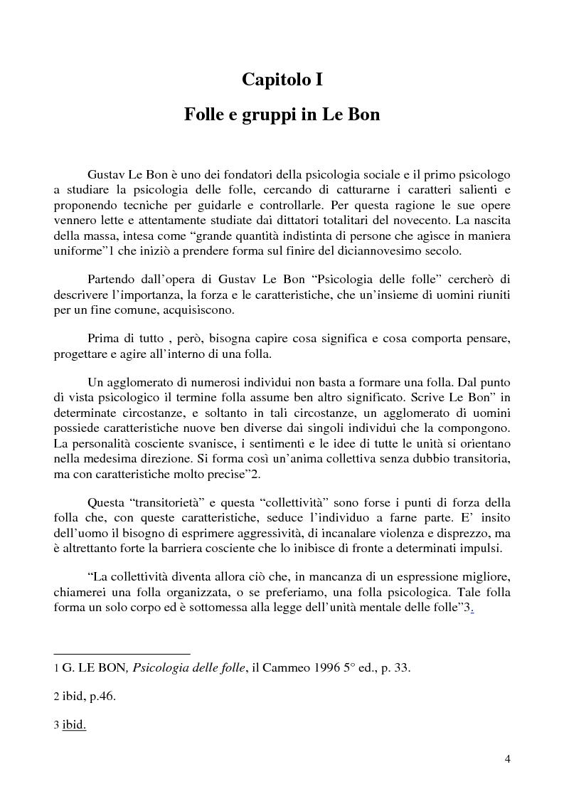 Anteprima della tesi: Amore e odio nei gruppi ultra del calcio - Dinamiche dell'aggressività da Gustav Le Bon ad Alessandro Dal Lago, Pagina 3