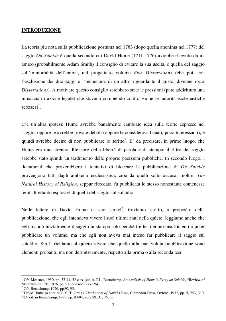 Anteprima della tesi: Il saggio di Hume ''On Suicide'', Pagina 1