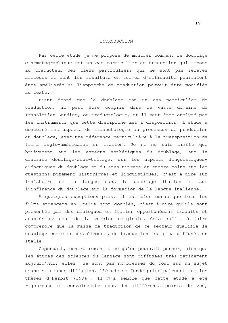 Anteprima della tesi: Le problème de la traduction dans le doublage cinématographique en Italie, Pagina 1
